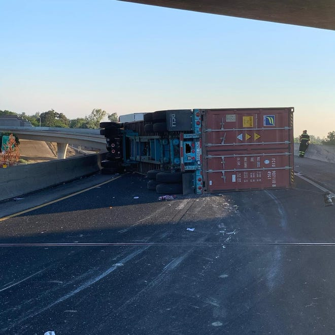 A big rig overturned on the transition ramp from eastbound Highway 4 to northbound Highway on Thursday morning.