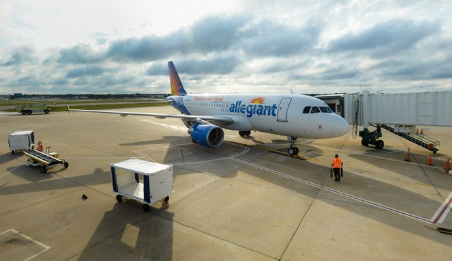 An Allegiant Air jet arrives at the Sarasota-Bradenton International Airport. The airline will begin offering direct service to Boston later this year.