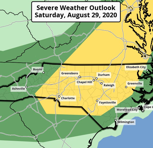 The remnants of Laura are expected to boost chances for severe weather in central North Carolina on Saturday.