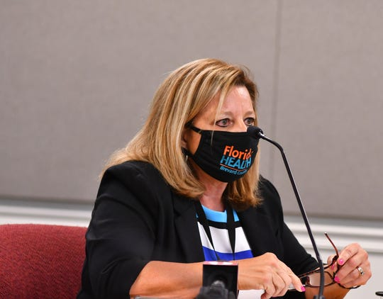 Florida Department of Health-Brevard Administrator Maria Stahl discusses COVID-19 trends during a county briefing on Thursday at the Brevard County Government Center in Viera.