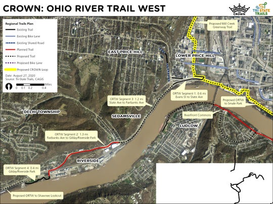 The first 0.6-mile segment of the Ohio River Trail West is complete. When all segments are done, the trail will be 3.5 miles long.