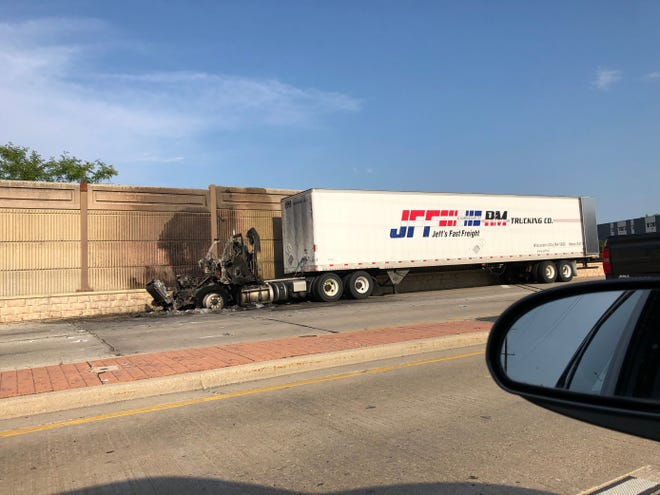 A semi-truck caught fire on Thursday, Aug. 27, in Milwaukee, closing I-794 northbound lanes near Oklahoma Avenue.