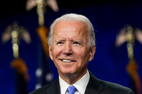 Democratic presidential candidate former Vice President Joe Biden speaks during the fourth day of the Democratic National Convention on Aug. 20 at the Chase Center in Wilmington, Del.