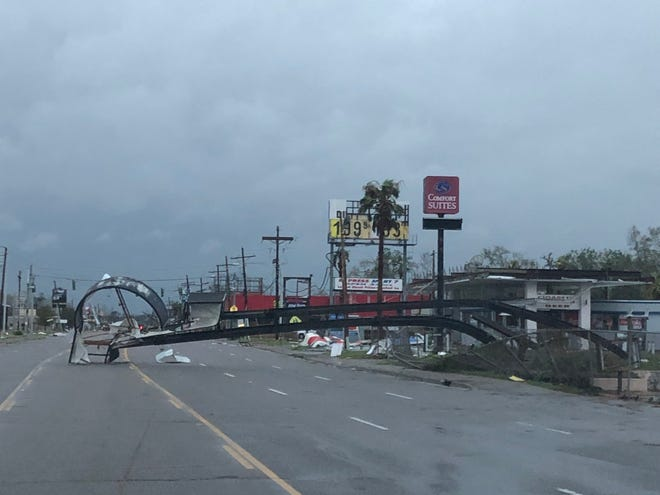 Hurricane Laura damage Thursday morning on Highway 171 North between Lake Charles and DeRidder.
