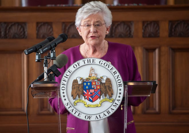 Gov. Kay Ivey (seen on Thursday, Aug. 27, 2020) said in a statement on Thursday that Bibb, Escambia and Elmore counties would be the sites of new prisons.