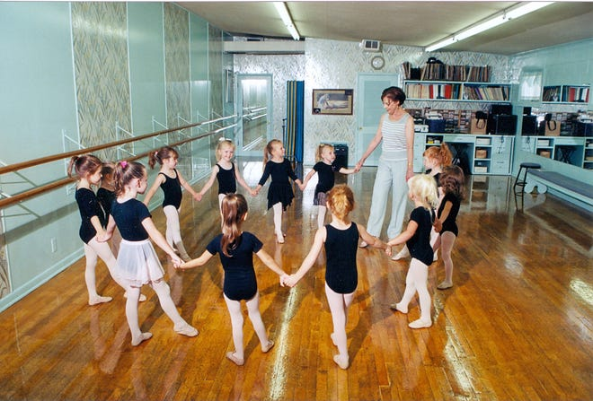 Joan Garrett Wine teaches a class at her Newark studio. She passed away in august after nearly 70 years of teaching dance.