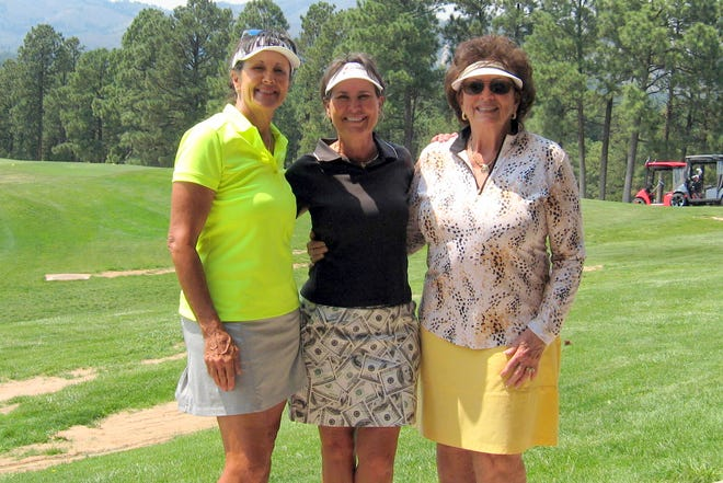 Left to right: Terry Dukes, Denise Bowers and Carolyn Apodaca pose after the Alto Lakes Golf Ladies Golf Championships on Aug. 20 in Alto, NM. Dukes won the Ladies Championship, Bowers won the Senior Championship and Apodaca won the Silver Championship.
