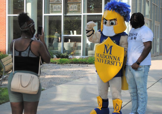 Students move on to campus Aug. 27, 2020, at Madonna University.