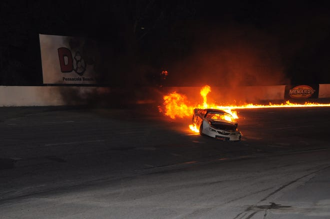Justin Bonnett's car during a fiery crash at the Snowflake 100 in 2019. After an arduous rehabilitation, Bonnett will make his Pensacola return at Five Flags Speedway on Aug. 28, 2020.