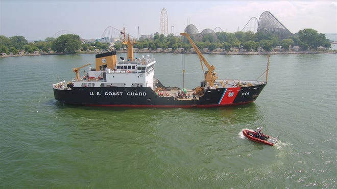 The USCGC Hollyhock at Cedar Point, Ohio. The ship will replace and repair buoys marking shipping channels following tropical storms during the 2020 hurricane season.