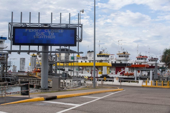 The ferry terminal is closed due to Hurricane Laura Wednesday, Aug. 26, 2020 in Galveston, Texas. (Brett Coomer/Houston Chronicle via AP)