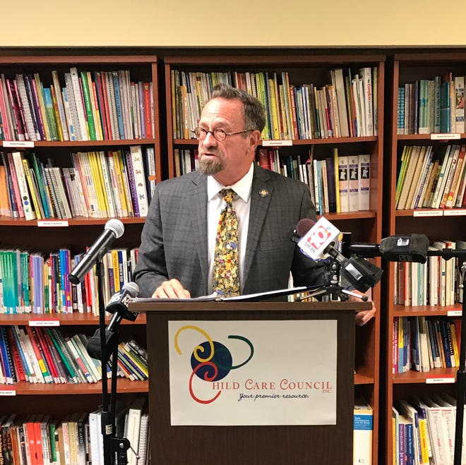 New York Assemblyman Harry Bronson speaking Aug. 27, 2020 at a press conference urging funding for child care.