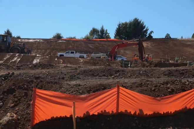 Construction takes place near Boone Ridge Senior Living in Salem, Oregon, on Wednesday, Aug. 26, 2020.