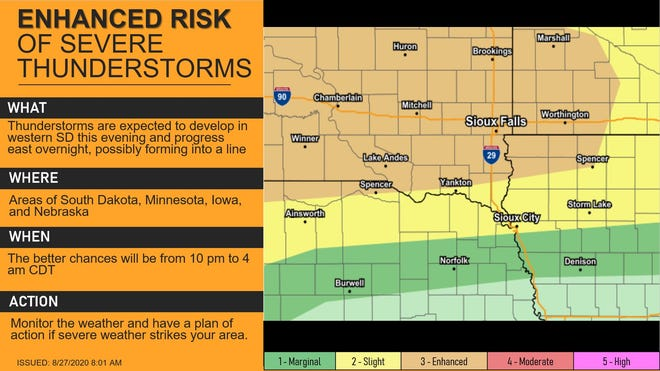 There is an enhanced risk for severe weather in most of South Dakota today.