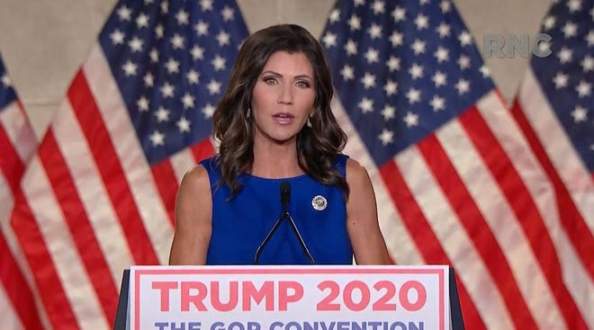 Kristi Noem speaks at the Republican National Convention on Thursday.