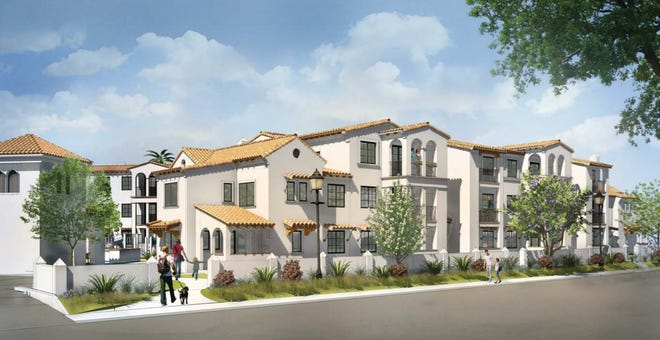 This shows a preliminary rendering of the Camarillo affordable housing project planned for 2800 Barry Street, the former Stock Lumber property. The development will include 68 affordable units, including both apartments and for-sale units.