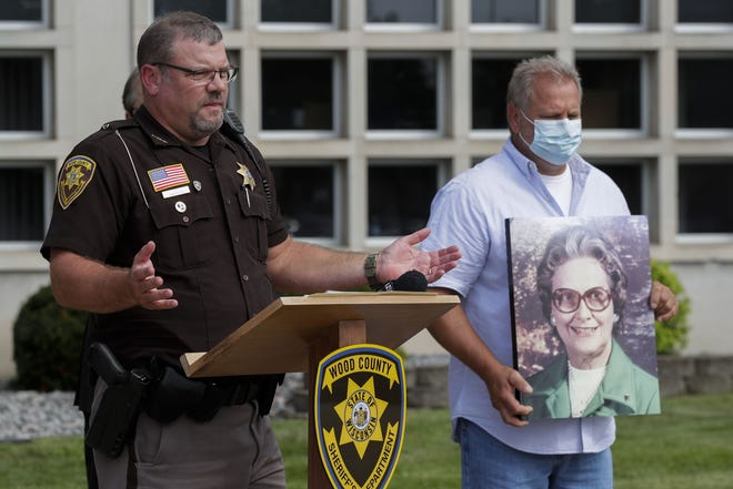 Wood County Sheriff Shawn Becker addresses the media on Thursday, Aug. 27, 2020, outside the Wood County Courthouse. Becker announced that a suspect has been arrested in the 1984 stabbing death of Eleanore Roberts, 73, of Saratoga.