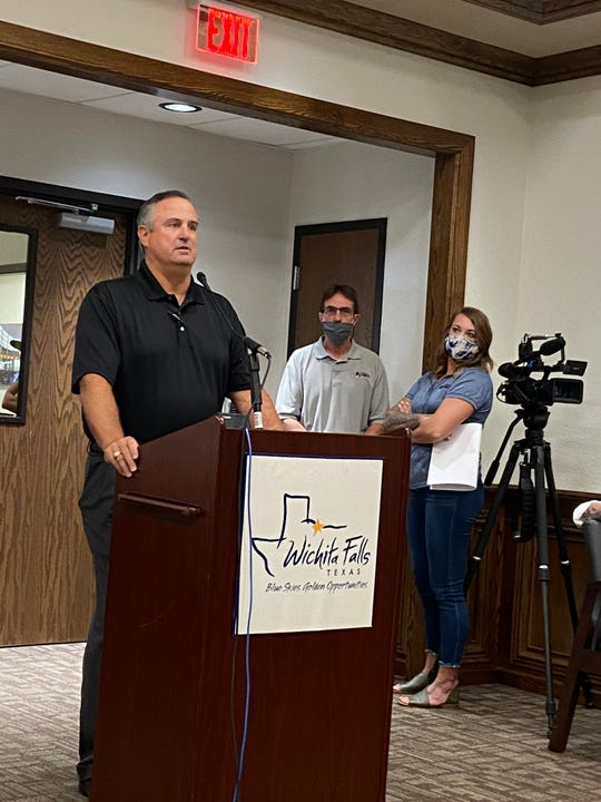 John Burrus speaks Thursday during a 4B meeting. Wichita Falls is working toward several pedestrian and bicycle-friendly projects including a five-year, $500,000 plan to create bike infrastructure along city roads.