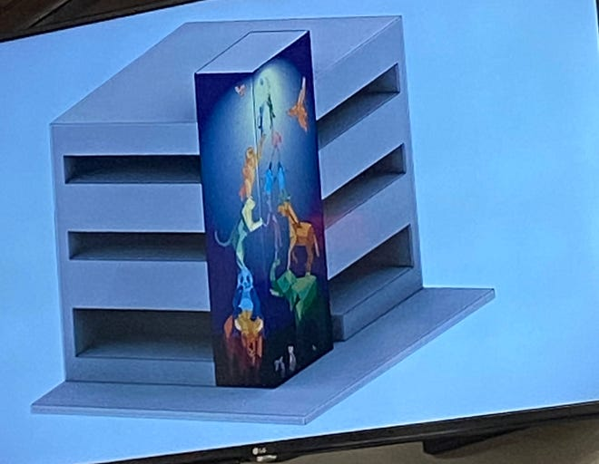 A rendering of what a huge mural on the Lindemann parking garage would look like. The tile mural with life-size animals is expected to take about one year to complete.