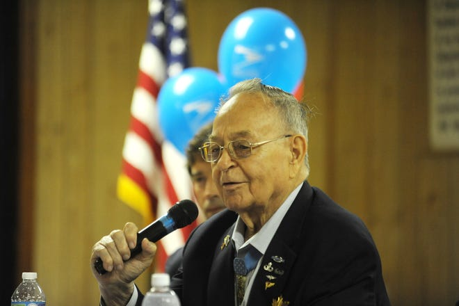 Congressional Medal of Honor winner Ron Rosser talks about his experience in Korea in this Times Recorder file photo. Ohio Rep. Adam Holmes (R-Nashport) sponsored a bill to establish a portion of Interstate 70 in his name.