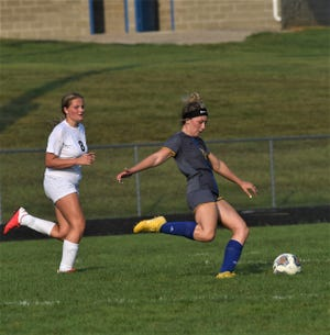 Philo's Alexis Rueckert kicks the ball up field during Wednesday's match against Philo at The Philo Athletic Complex. River View won 4-2.