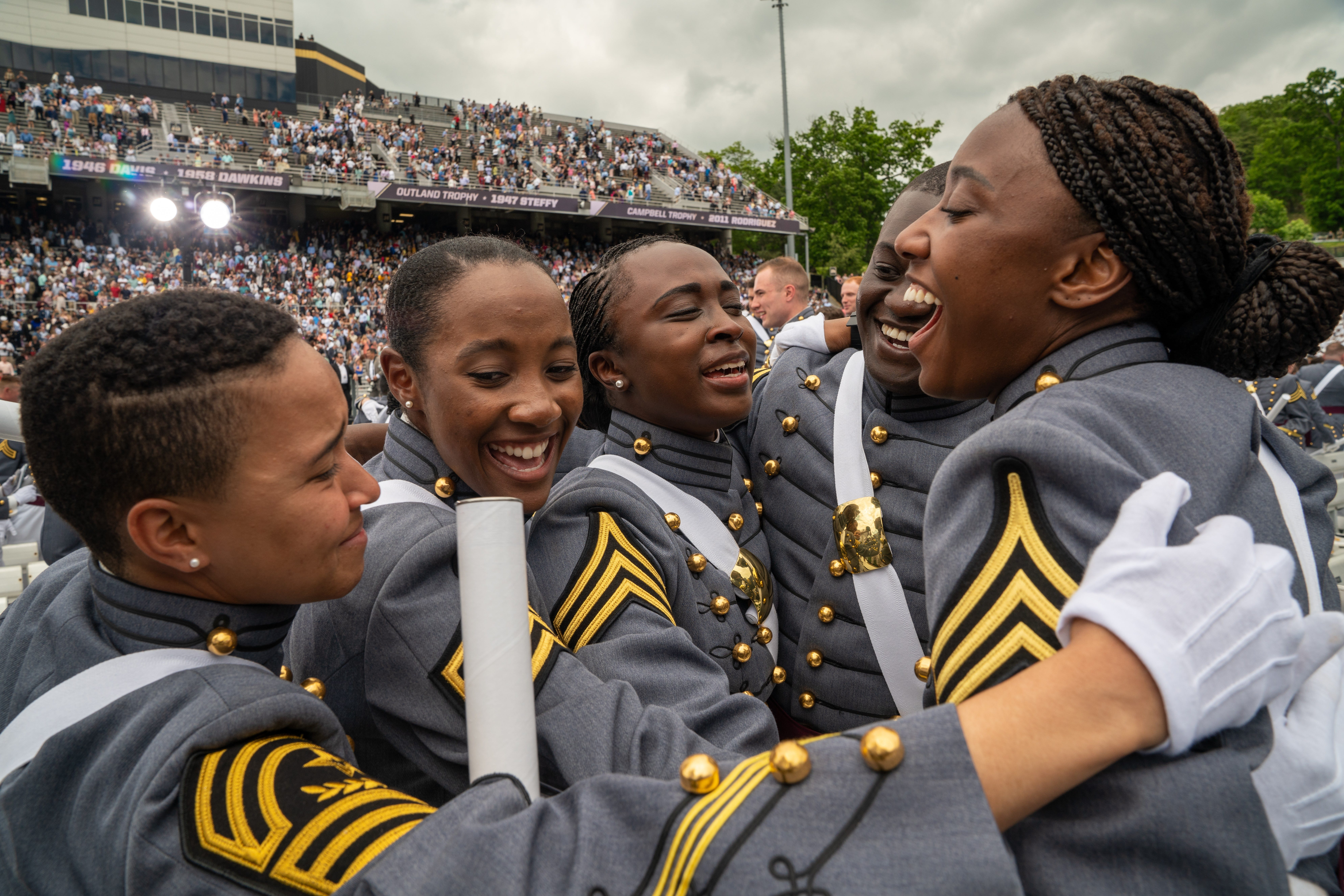 West Point graduates celebrate at the conclusion of the U.S. Military Academy Class of 2019 graduation ceremony at Michie Stadium on May 25, 2019, in West Point, N.Y.