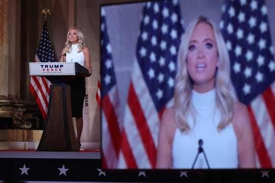 White House Press Secretary Kayleigh McEnany pre-records her address to the Republican National Convention from inside an empty Mellon Auditorium on August 26, 2020 in Washington, DC.