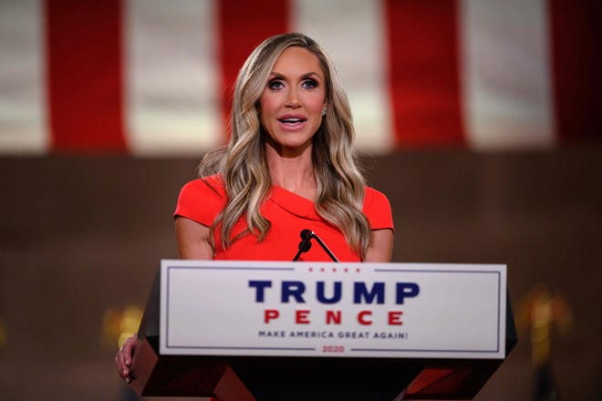 Lara Trump, wife of former president Donald Trump's son Eric, addresses the Republican National Convention in a pre-recorded speech at the Andrew W. Mellon Auditorium in Washington, DC, on Aug. 26.