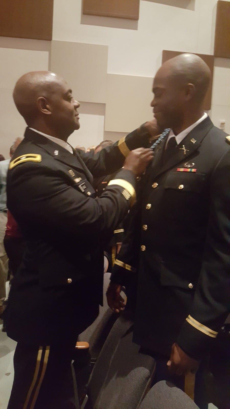 Brig. Gen. Milford Beagle's son 1st Lt. Jordan Beagle accepted an infantry assignment.