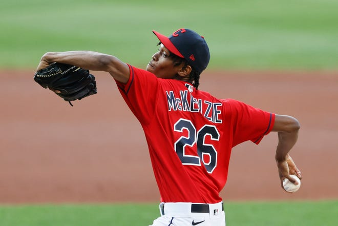 Cleveland Indians starting pitcher Triston McKenzie delivers against the Detroit Tigers during the first inning of a baseball game Saturday, Aug. 22, 2020, in Cleveland. (AP Photo/Ron Schwane)