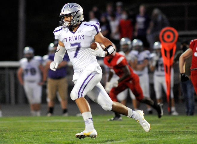 Triway's Tyler Davis leads the area in yards and catches through three weeks.