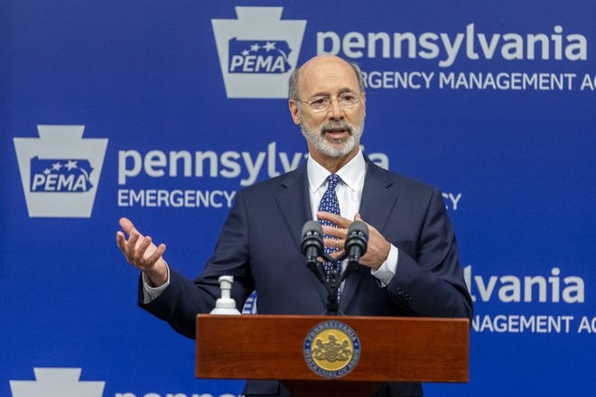 Gov. Tom Wolf accused Trump and Republicans who control the legislature of promoting conspiracy theories and spreading misinformation about the virus and the status of the Pennsylvania economy.