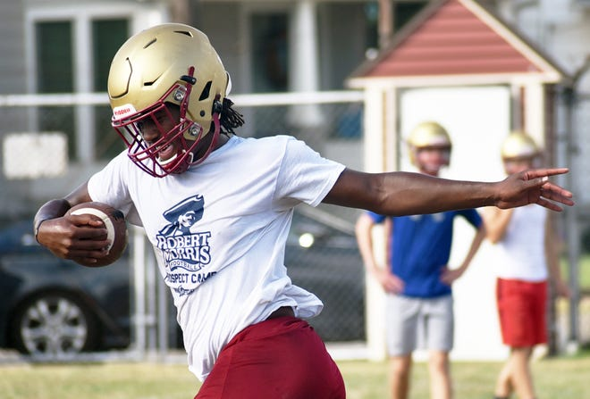 New Brighton's Nya Greene, shown during a preseason practice, accounted for 184 of New Brighton's 323 yards of offense in a 6-0 win over Ellwood City last week.