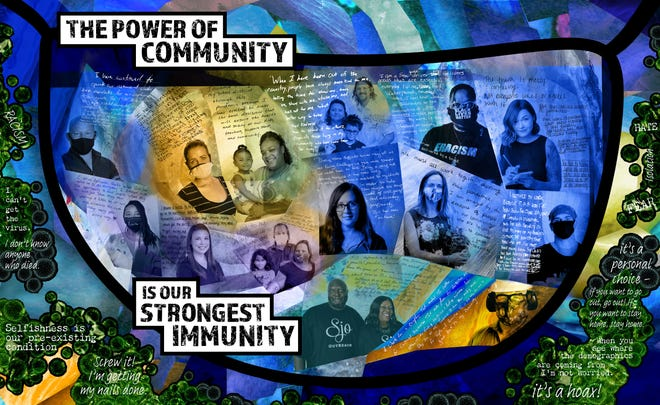 "Erin Ninehouser, a photographer from Ambridge, created a photo collage of essential workers in a piece called ""The power of community is our strongest immunity."""
