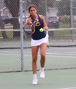 Hayden Winjum plays against East Grand Forks on Aug. 28. Winjum moved up to No. 1 singles in Thursday's rematch with the Green Wave, which Crookston won 5-2.