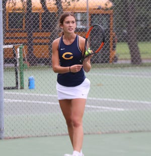 Hayden Winjum eyes her serve during her No. 2 singles match on Friday. Winjum defeated her opponent to help Crookston girls' tennis to a 5-2 win over East Grand Forks.