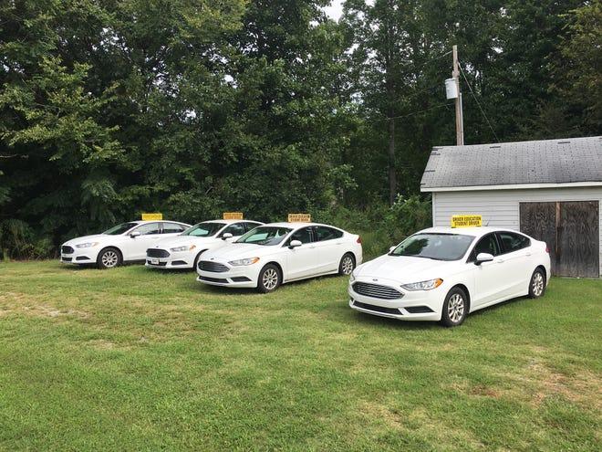 Driver education cars at Ledford High School.