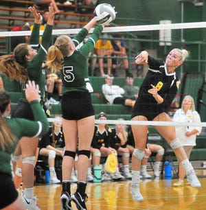 Waynedale's Sara Ice (9) and Smithville's Brooke Fatzinger (5) earned All-Ohio honors, announced by the Ohio High School Volleyball Coaches Association this week.