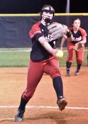 Central Davidson's pitcher Salem Ward starts her windup against Ledford in a game during the 2020 season.