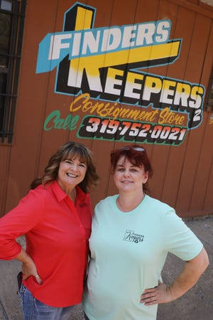 Robyn Canova, left, and her business associate Sherry Crow, are shown Wednesday in front of Finders Keepers2 a new consignment store at 600 S. 9th St. in Burlington. The store which is schedule to open Sept. 8, with a soft opening on Sept. 7.