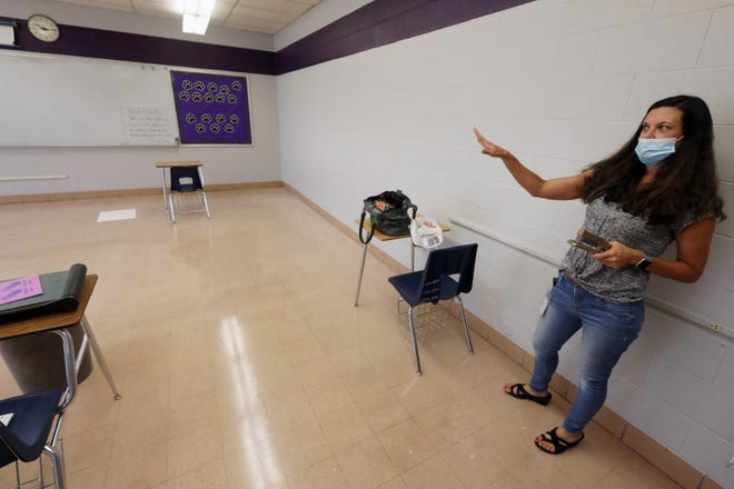 Fifth grade teacher Melissa Richards talks about getting her classroom ready in the former James Madison Middle School that now houses the Burlington School District's continuous learning program, Thursday, Aug. 20, in Burlington.