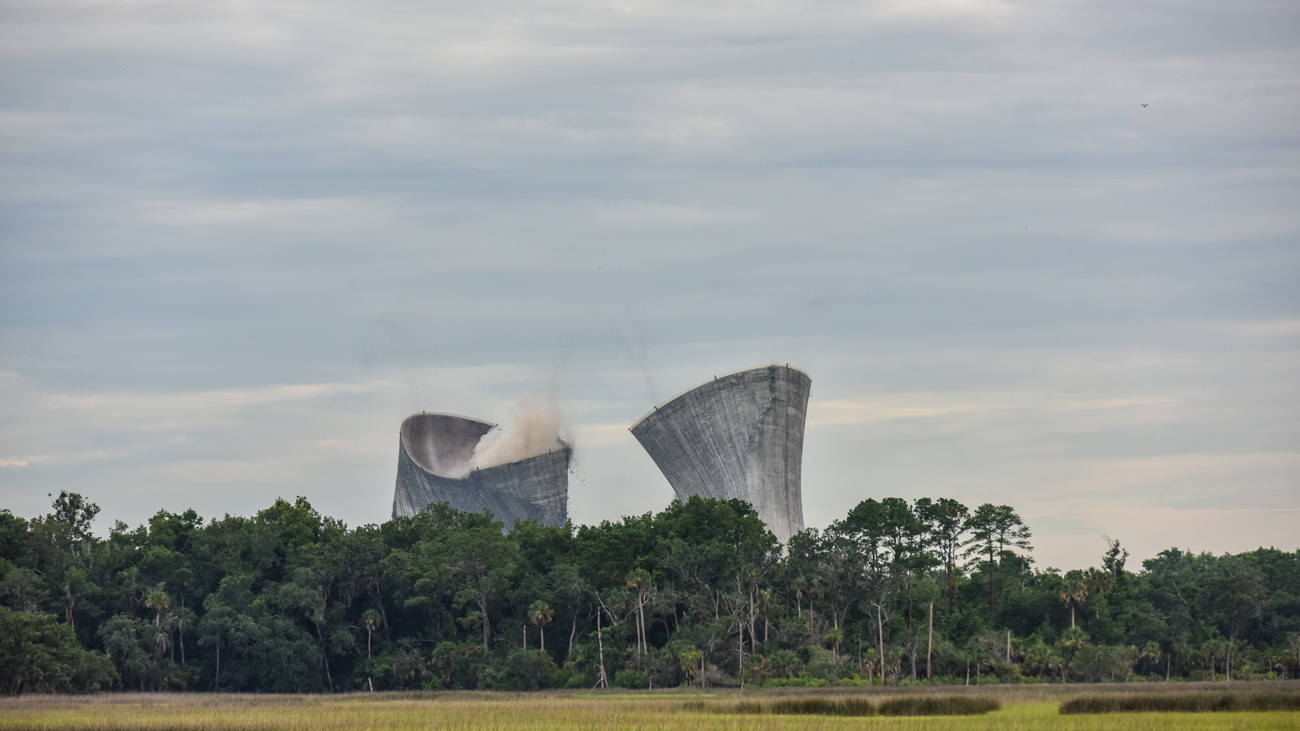 More than 1,500 pounds of dynamite brought down the cooling towers at the St. Johns River Power Park on June 16, 2018. The spectacle attracted crowds who lined nearby roads.