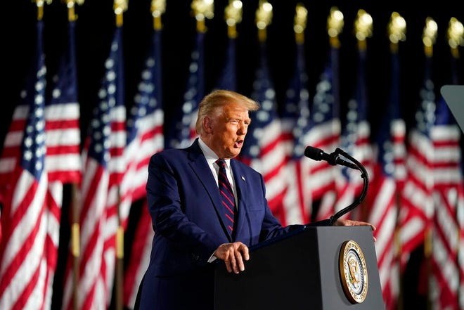 President Donald Trump speaks from the South Lawn of the White House on the fourth day of the Republican National Convention Thursday in Washington.