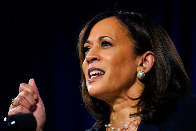 Democratic vice presidential candidate Sen. Kamala Harris, D-Calif., speaks in Washington Thursday.