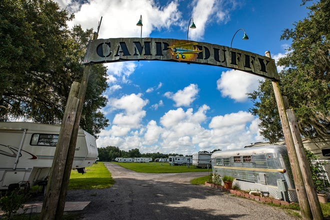 The Camp Duffy campground at Sun 'n Fun in Lakeland. Sun N Fun has rebranded itself as a year-round campsite. While Sun 'n Fun has allowed camping before, primarily associated with large events, the organization is seeing an influx of interest in people looking to call its campus home for several months.