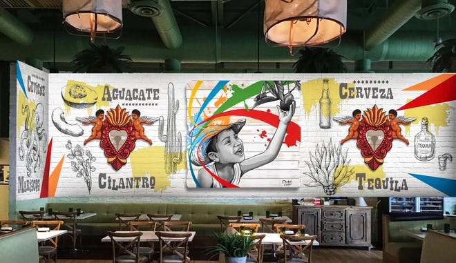An artist's rendering of a mural envisioned for the upcoming Avocado Cantina. Chef Julien Gremaud's Cali-Mex concept will take over his former Avocado Grill space in Palm Beach Gardens.