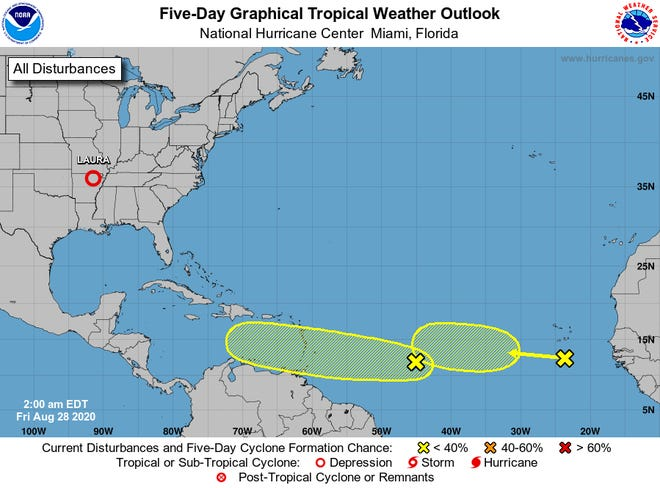 NHC tropical weather outlooks is giving two areas of interest 30 percent chances of development over 5 days.