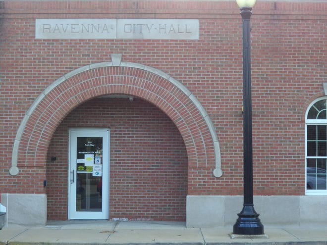Ravenna City Hall, as seen in a Record-Courier file photo.