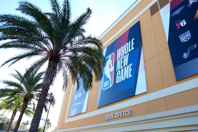 A general view outside of The Field House before Game 5 of an NBA basketball first-round playoff series, between the Oklahoma City Thunder and Houston Rockets, Wednesday, Aug. 26, 2020, in Lake Buena Vista, Fla. NBA players made their strongest statement yet against racial injustice Wednesday when the Milwaukee Bucks didn't take the floor for their playoff game against the Orlando Magic. (Kim Klement/Pool Photo via AP)