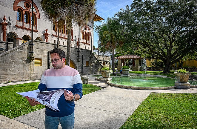 Ray Eme, associate director of the Lightner Museum, stands behind the building in St. Augustine on Thursday. Museum officials plan to create a revamped community garden.